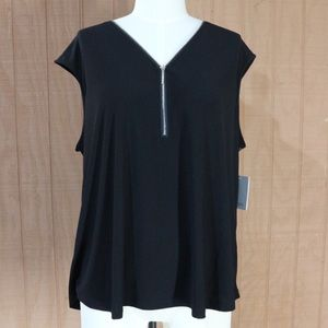 89th + Madison Black Zipper Tank Top Blouse